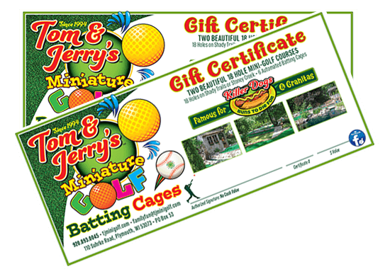 Gift Certificates for Tom & Jerry's Mini Golf & Batting Cages Plymouth Wisconsin Sheboygan County