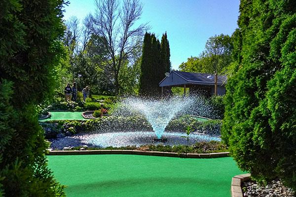 Tom & Jerry's Mini Golf fountain Plymouth Wisconsin